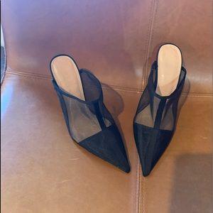 Zara mesh heeled mules